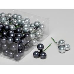 Boule Noël 20mm fil 10cm Anthracite/Gris par 144