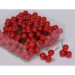 Boule Noël 20mm fil 10 cm Rouge par 144