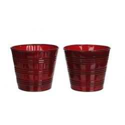 Pot zinc d14 h12,5 cm Tartan rouge