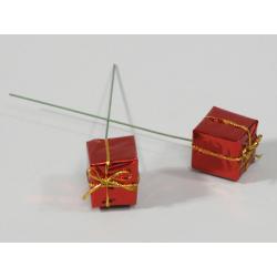 Paquet Cadeau sur pique d2.5 cm Rouge par 60