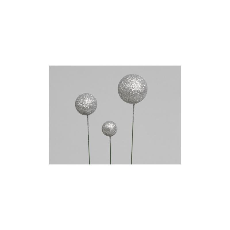 Boule Noel d20/30/40mm sur pique Argent par 100