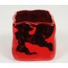 Cache pot carré 12x12 h9 cm Rouge miroir