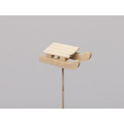 Luge bois 4.5x2.5 cm sur pique Naturel par 6