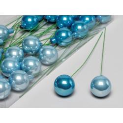 Boule Noël 40mm tige 20 cm Bleu Brillant x30