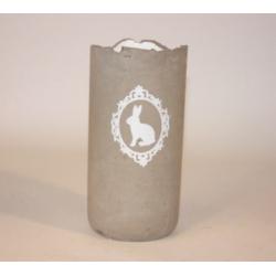 Vase ciment d11 h22 cm décor Lapin Gris