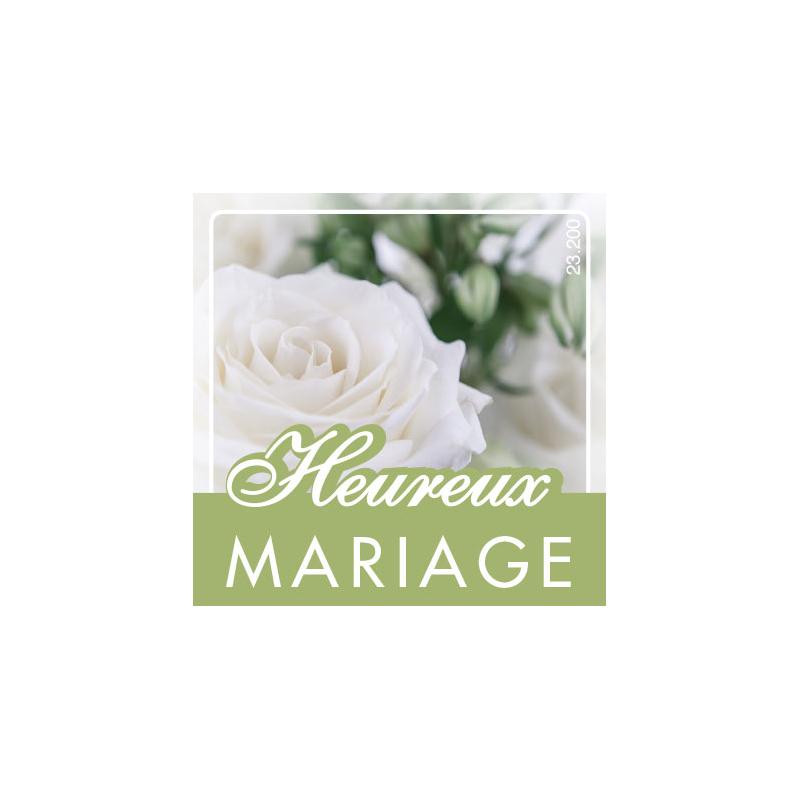 Etiquettes Voeux par 500 Heureux mariage