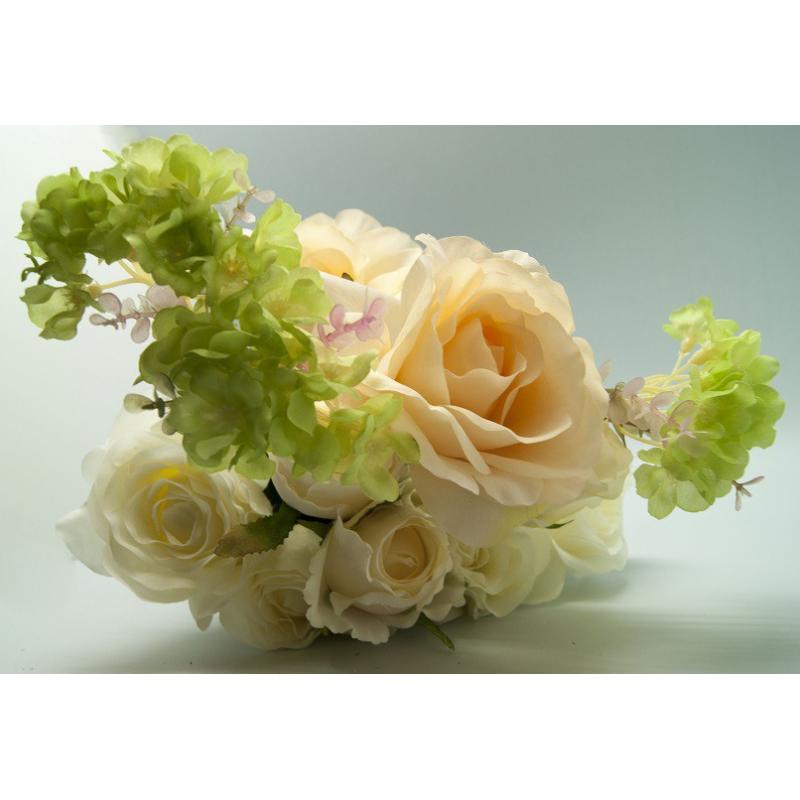 Bouquet Rose Hortensia 13 tiges Crème/Vert