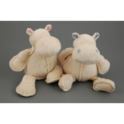 Hipopotame Peluche Assis h16 cm Beige