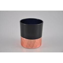 Bougeoir Verre d7,3 h8 cm Noir et Cuivre
