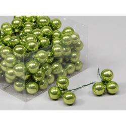 Boule Noël 25mm fil 10 cm Vert par 144