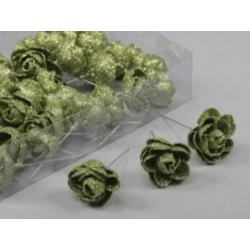 Rose  d3.5 sur fil 10 cm Vert pailleté x 36