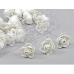 Rose D3.5 sur fil 10 cm Blanc pailleté x 36