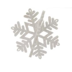 Etoile 3D d25 cm Paillettes Blanc/Argent