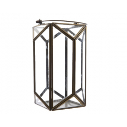 Lanterne en Fer avec Anse Or 15x15x24 cm