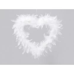 Cœur en plumes d32 cm Blanc à suspendre