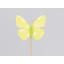 Papillon d6.5 cm Jaune sur pique par 12