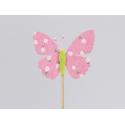 Papillon d6.5 cm Rose sur pique par 12