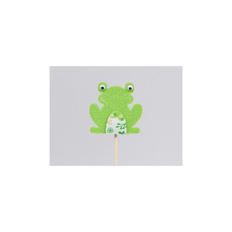 Grenouille d6 cm Vert sur pique par 8