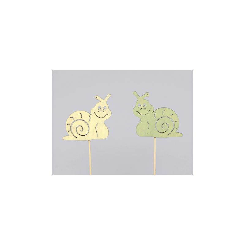 Escargot d7,5 cm Vert/Jaune sur pique par 12