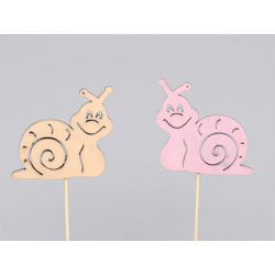 Escargot d7,5cm Orange/Rose sur pique par 12
