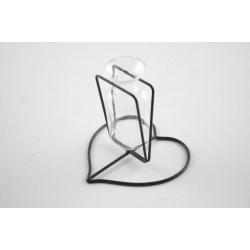 Fiole verre support métal Cœur d9,5 h8,5 cm