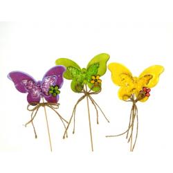 Pique Papillon Bois Coloré h20 cm par 12