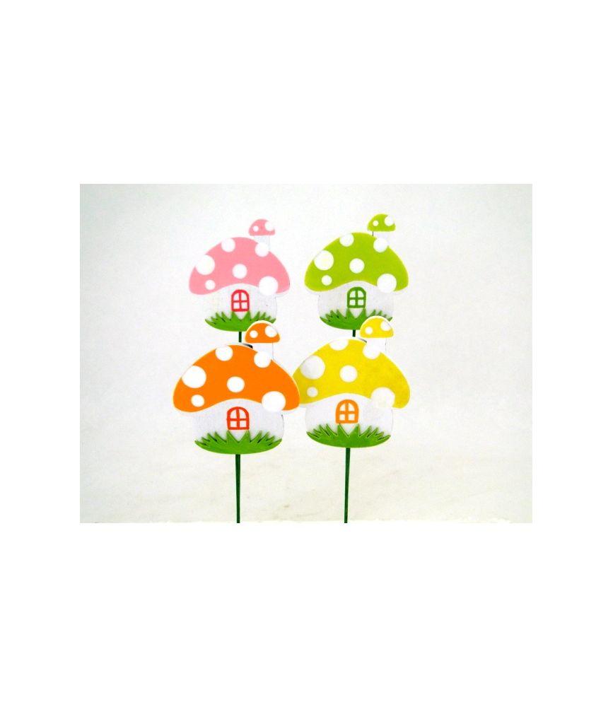Pique champignon maison h27 cm par 12 for Accessoires decoratifs maison