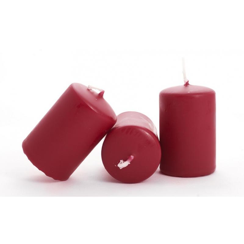 Bougie Cylindre d40 x h60 mm par 24 Rouge Foncé