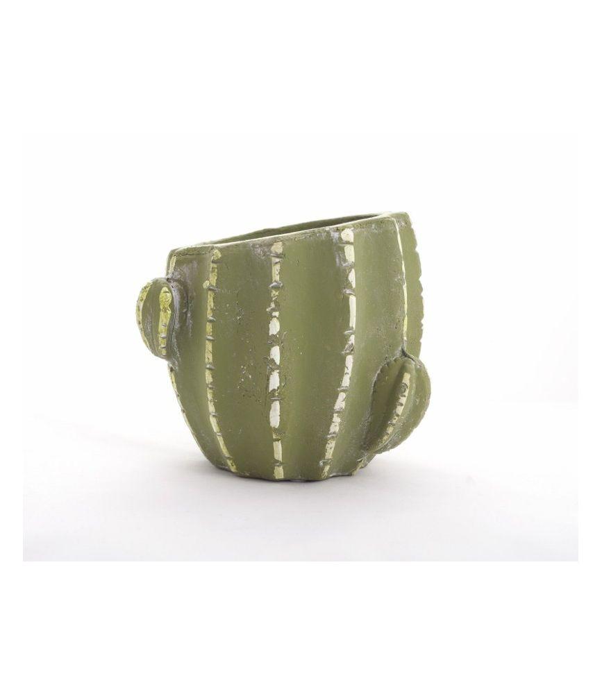 cache pot ciment d15 h14 cm cactus vert. Black Bedroom Furniture Sets. Home Design Ideas