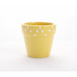DOLOMITE - Pot fleurs jaune foncé D8 x 7cm par 6