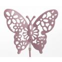 Papillon métal d6 cm Rose sur pique par 12