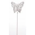 Papillon métal d6 cm Blanc sur pique par 12