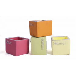 NATURE - Cache-pot Carré D6 x H6 cm Assorti Par 4