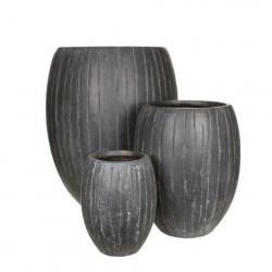 """Pot Rond Fibre d30 h38 cm """"Ocean"""" Gris"""