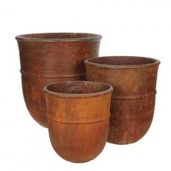 """Pot Rond Fibre d45 h50 cm """"Jille"""" Rouille"""