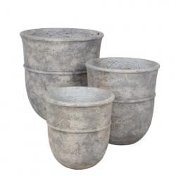"""Pot Rond Fibre d35 h38.5 cm """"Jille"""" Blanc Cassé"""