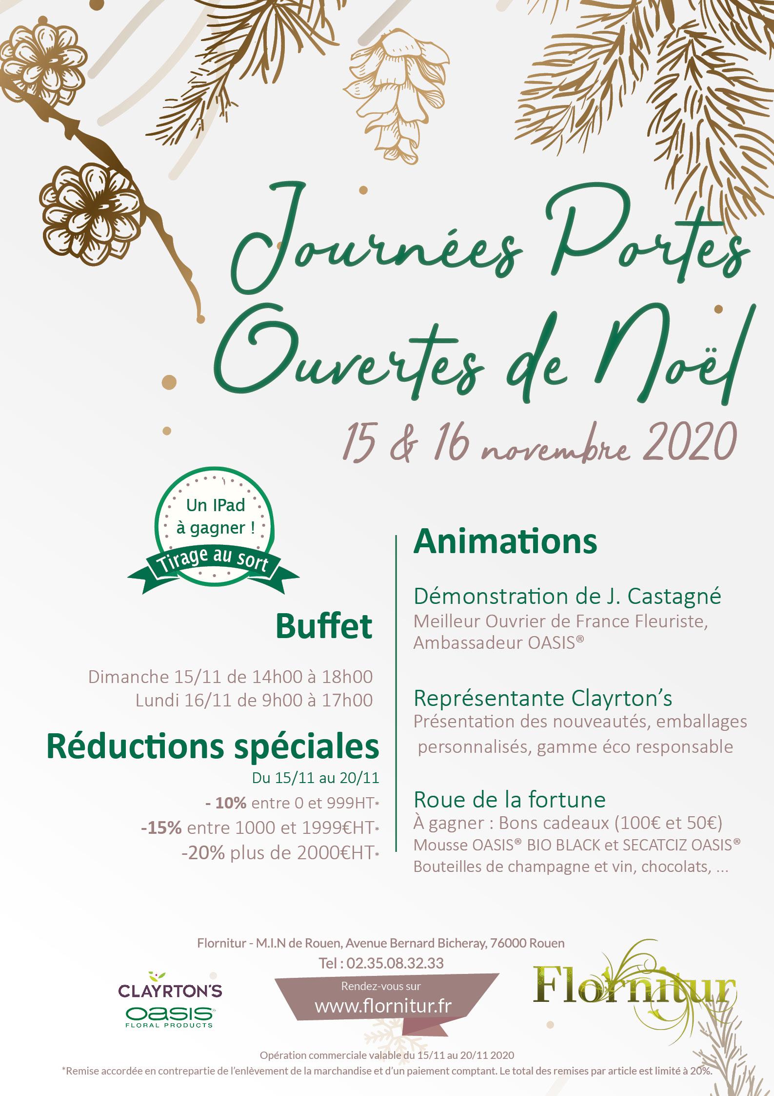 Affiche Journées Portes ouvertes de Noël  2020 Flornitur
